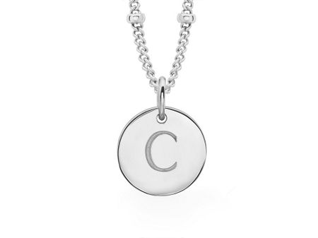 Missoma Ladies silver initial c pendant with beaded chain