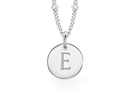 Missoma Ladies silver initial e pendant with beaded chain