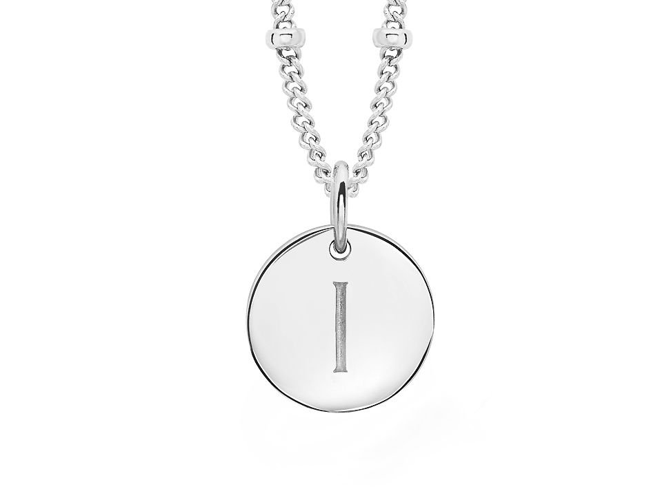 Missoma Missoma Ladies silver initial i pendant with beaded chain, Silver