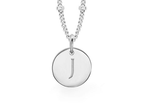Missoma Ladies silver initial j pendant with beaded chain