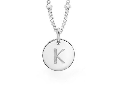 Missoma Ladies silver initial l pendant with beaded chain