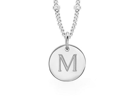 Missoma Ladies silver initial m pendant with beaded chain