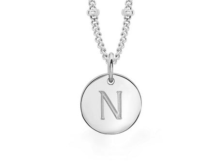 Missoma Ladies silver initial n pendant with beaded chain