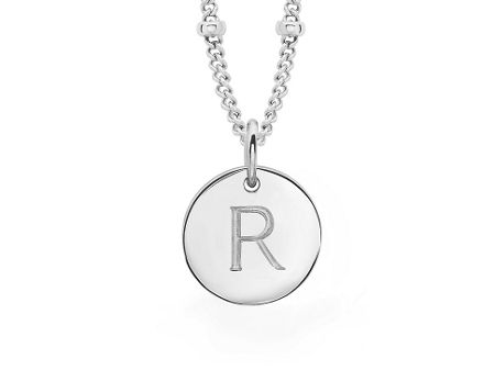 Missoma Ladies silver initial r pendant with beaded chain