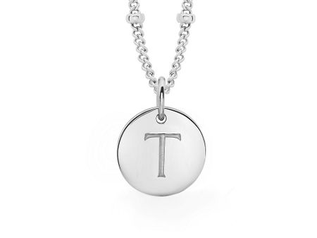 Missoma Ladies silver initial t pendant with beaded chain