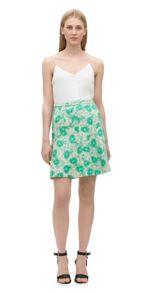Pansy print fit & flare skirt