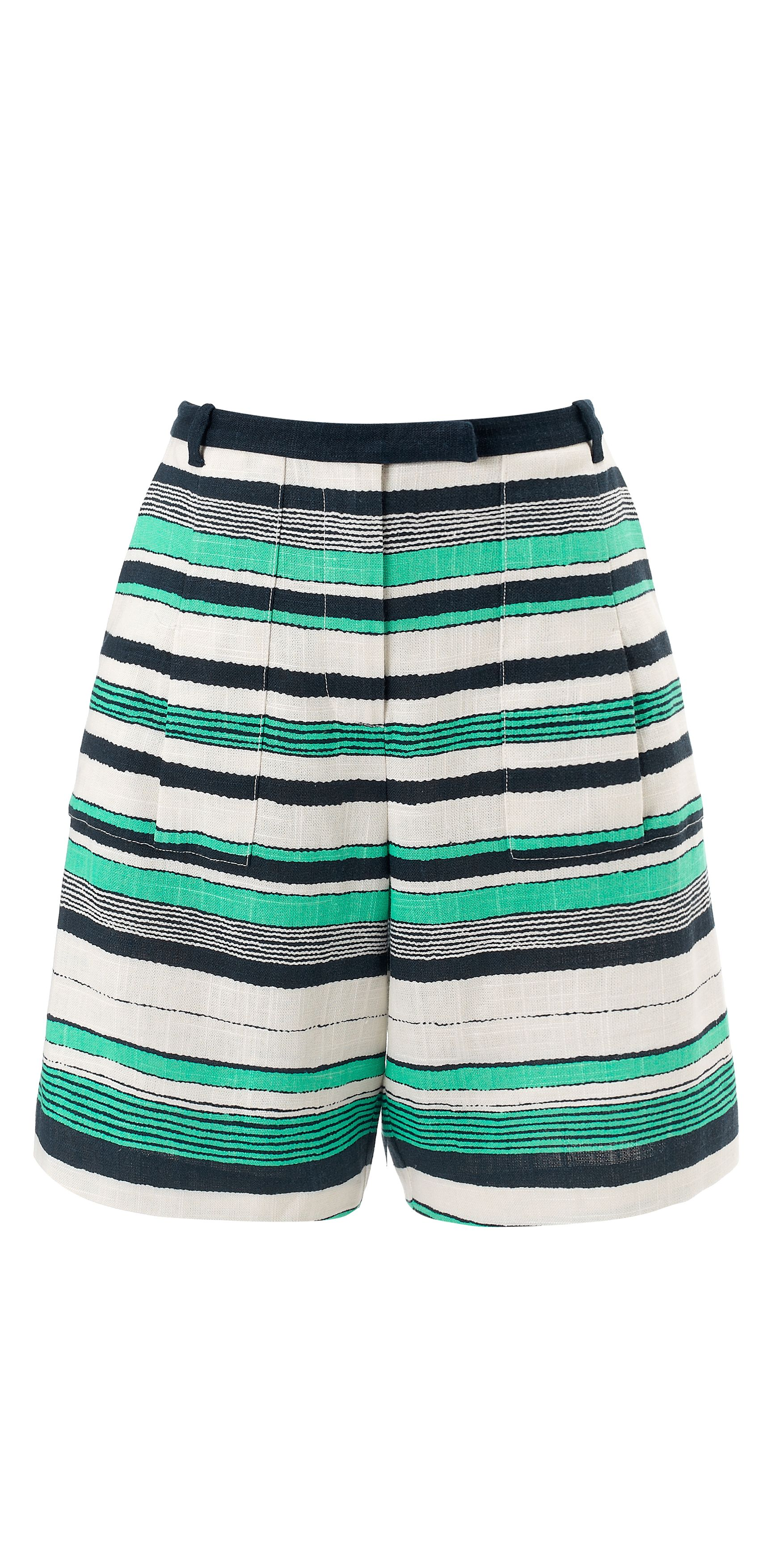 Painted linen stripe bermuda short