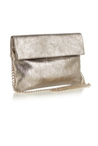 Leather Metallic Tilly Clutch