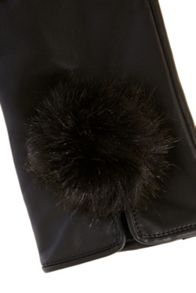 Pom pom leather gloves