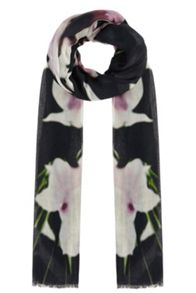 Winter lily floral scarf