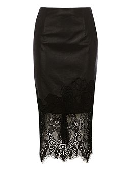 Vega lace trim pencil skirt