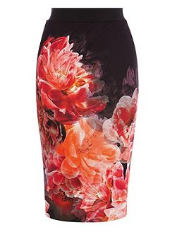 Peony bloom pencil skirt