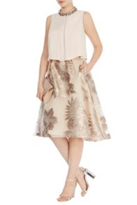 Coast Bea clipped jacquard skirt