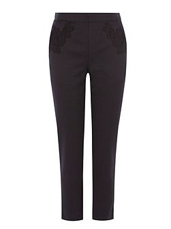 Eleanor Lace Trim Trousers Shorter Length