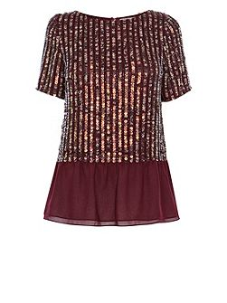 Amiath Sequin Peplum Top