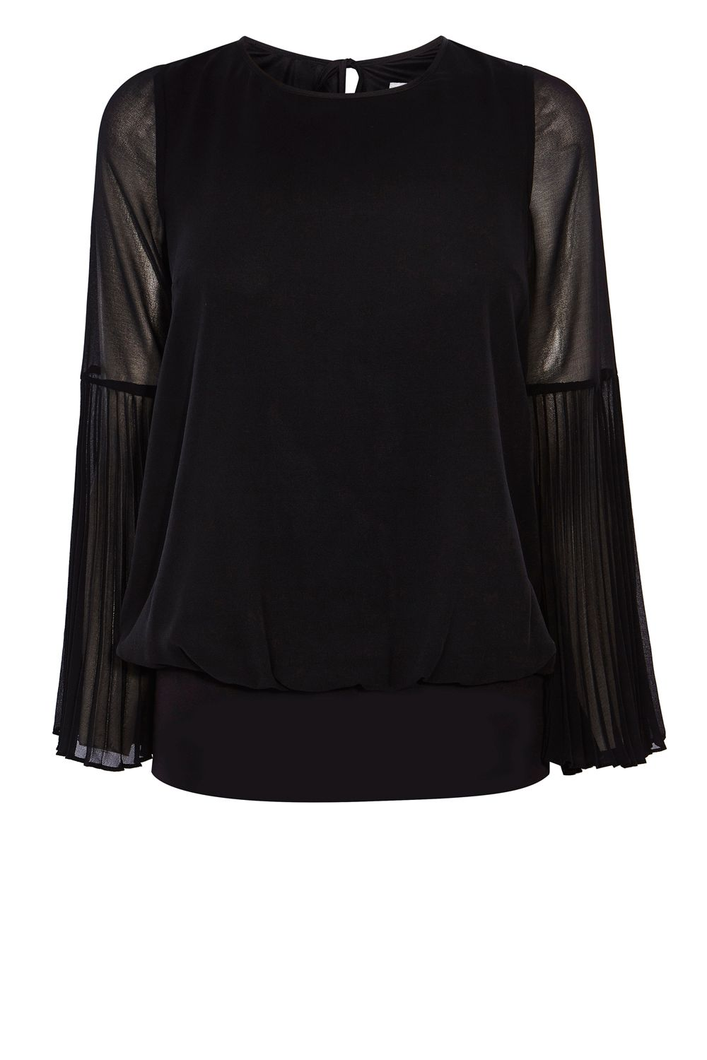 Coast Elisa Pleated Sleeve Calla Top, Black