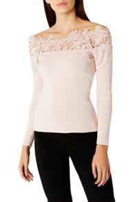 Coast Lilith Lace Bardot Knit Top