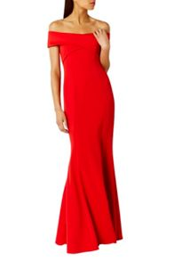 Coast Sophie Red Scuba Prom Dress