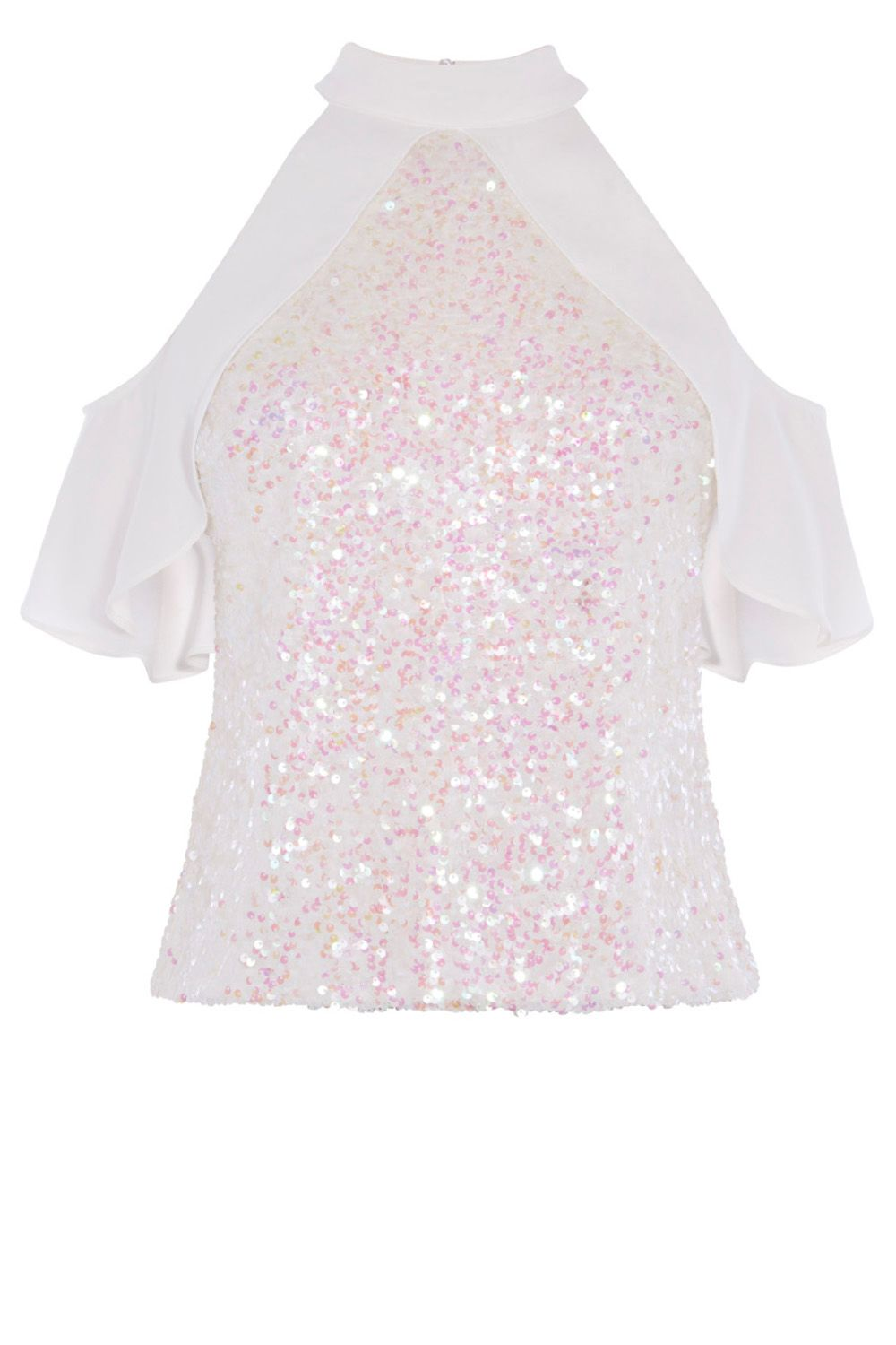 Coast Blair Sequin Top, White