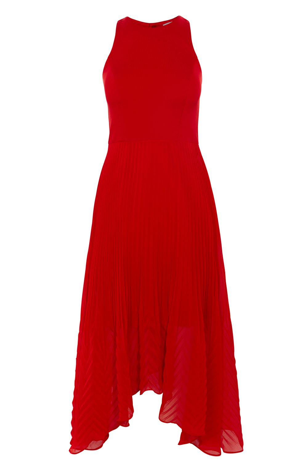 Coast Ruby Pleated Midi Dress, Red