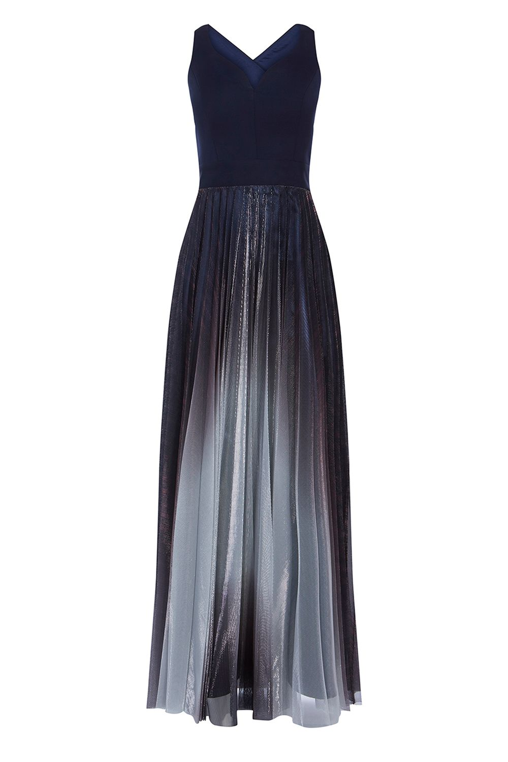 Coast Roma Metallic Pleated Dress, Blue