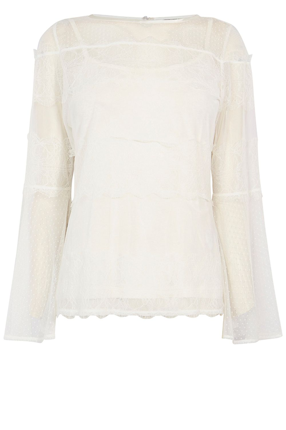 Coast Tara Lace Mesh Top, White