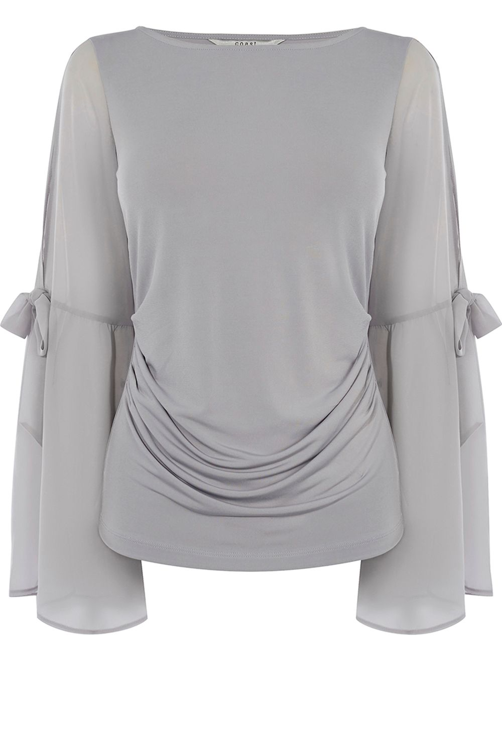 Coast Yasmin Bow Sleeve Top, Silver