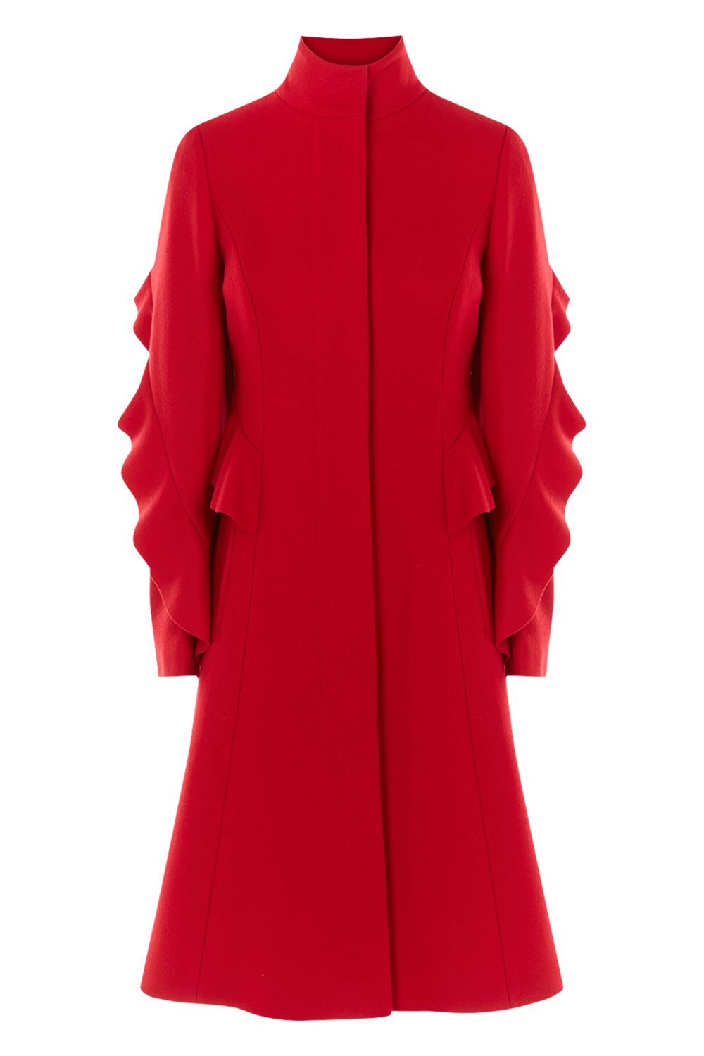 Coast Macey Ruffle Coat, Red