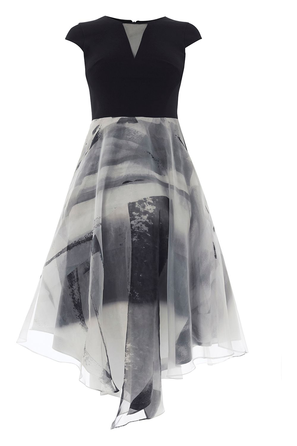 Coast Grovetta Organza Midi Dress, MonoSilver
