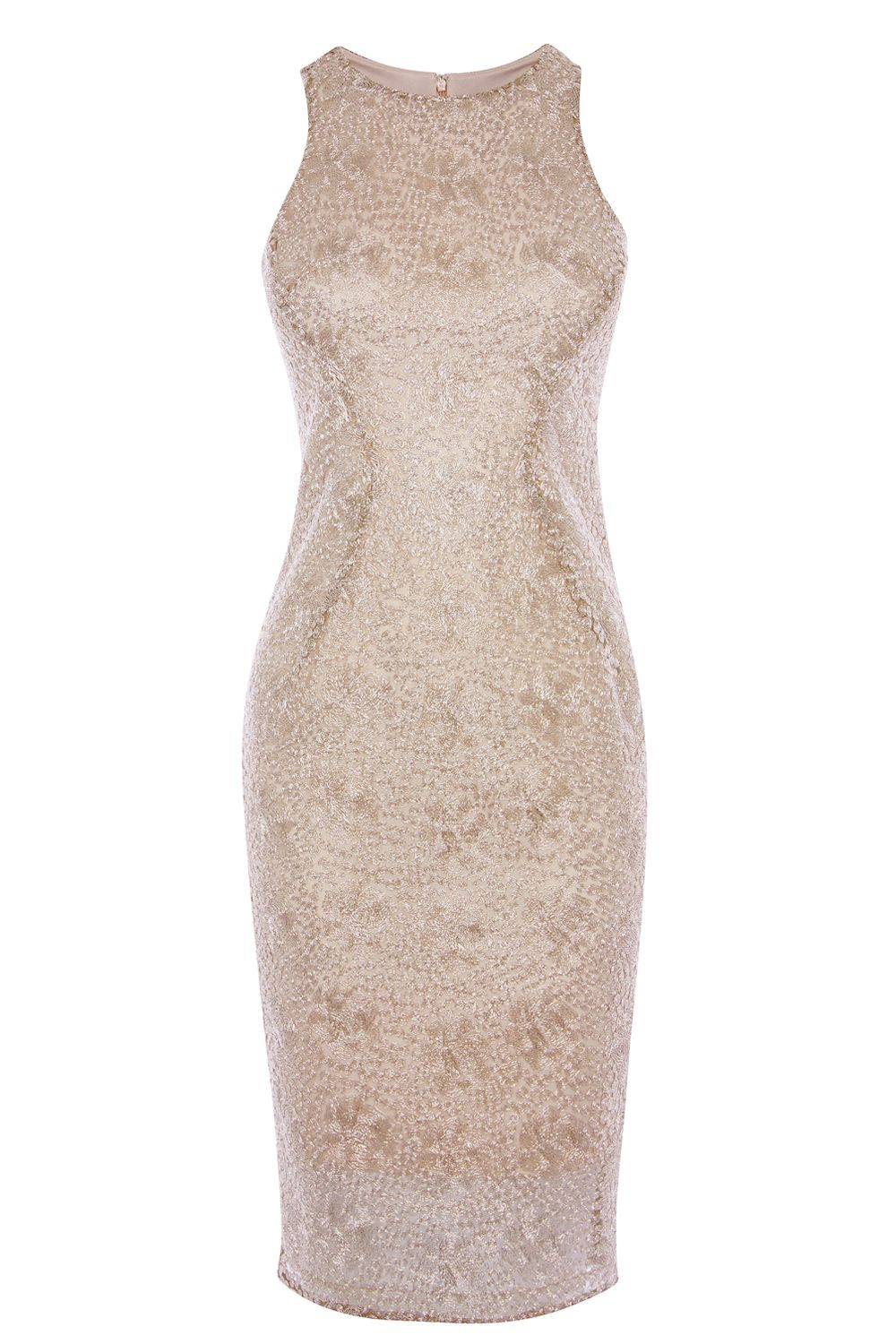 Coast Ostara Metallic Lace Dress, Rose Gold