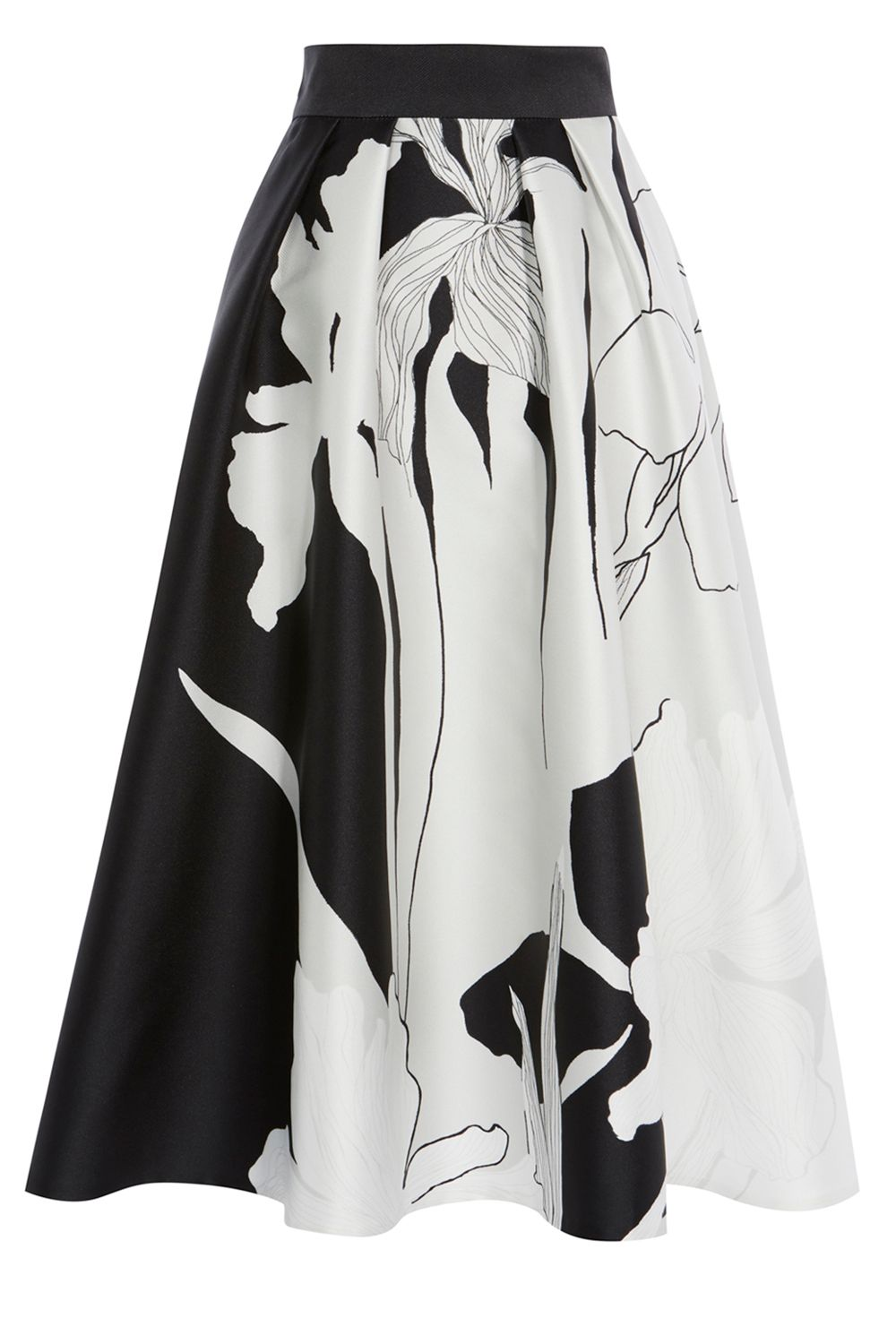 Coast Iris Print Full Skirt, MonoSilver