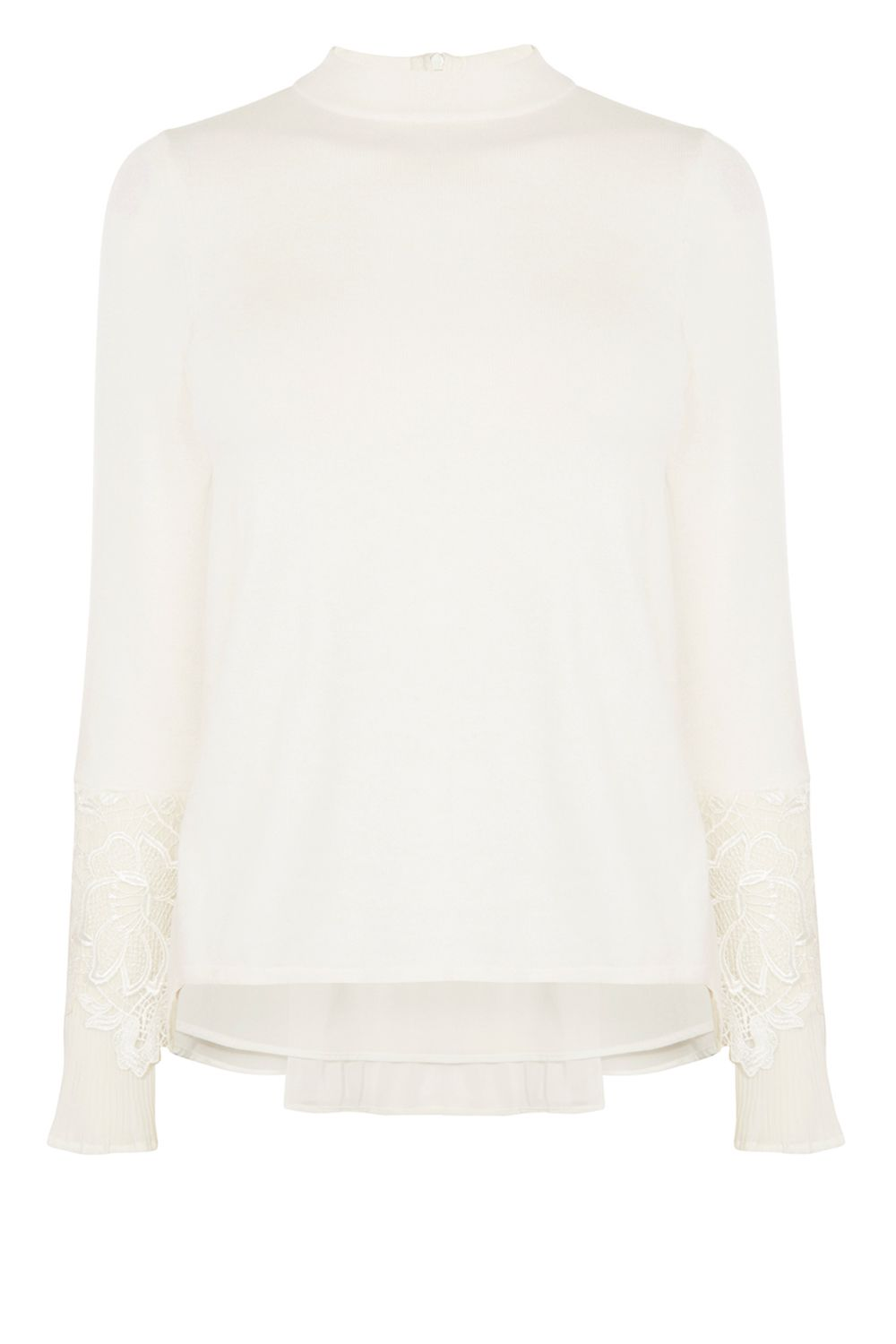 Coast Rose Pleat Lace Knit Top, White