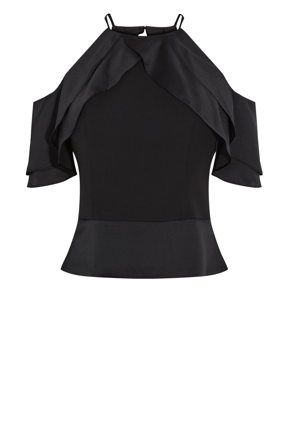 Coast Mini Ruffle Top, Black