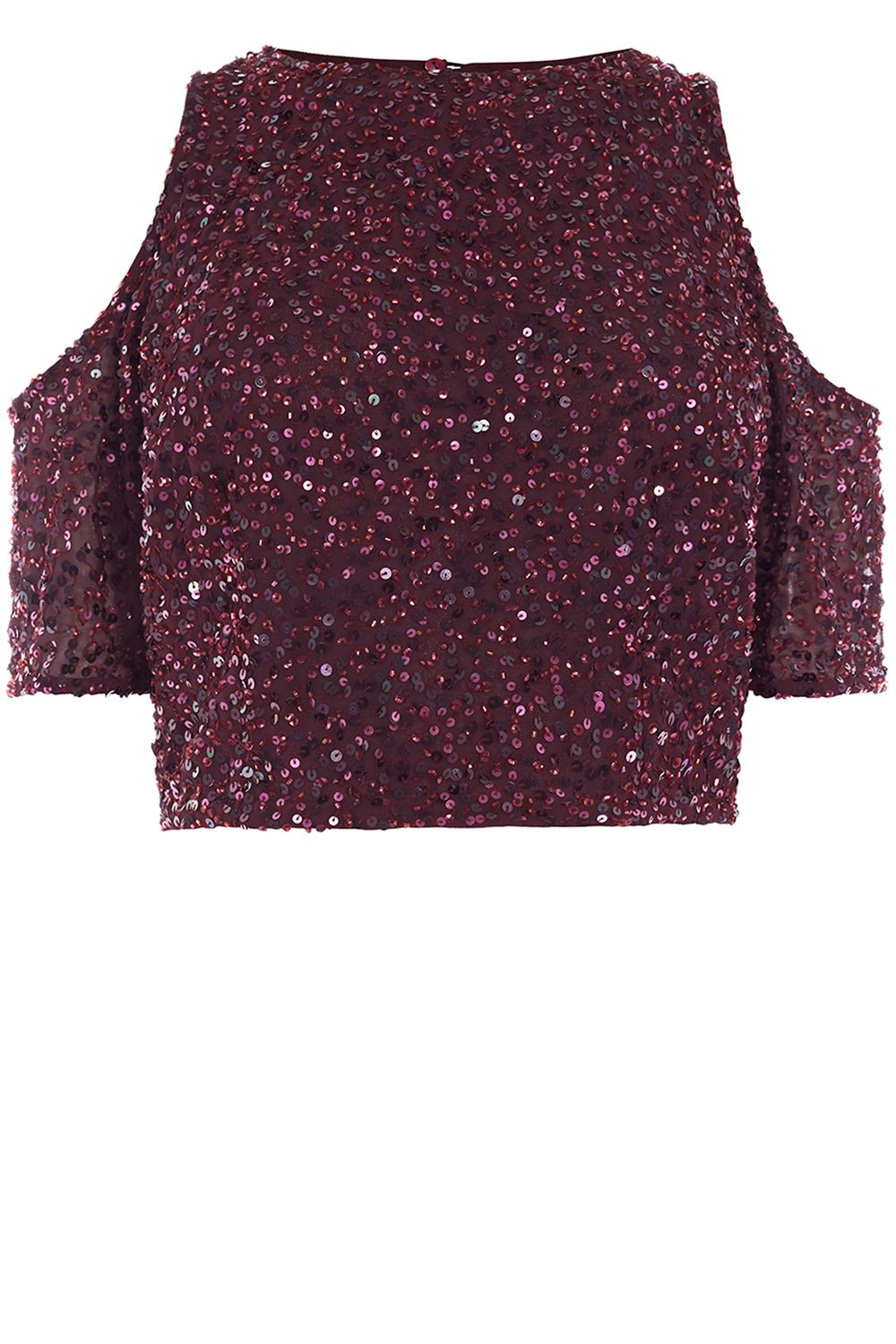 Coast Saya Cold Shoulder Sequin Top, Merlot