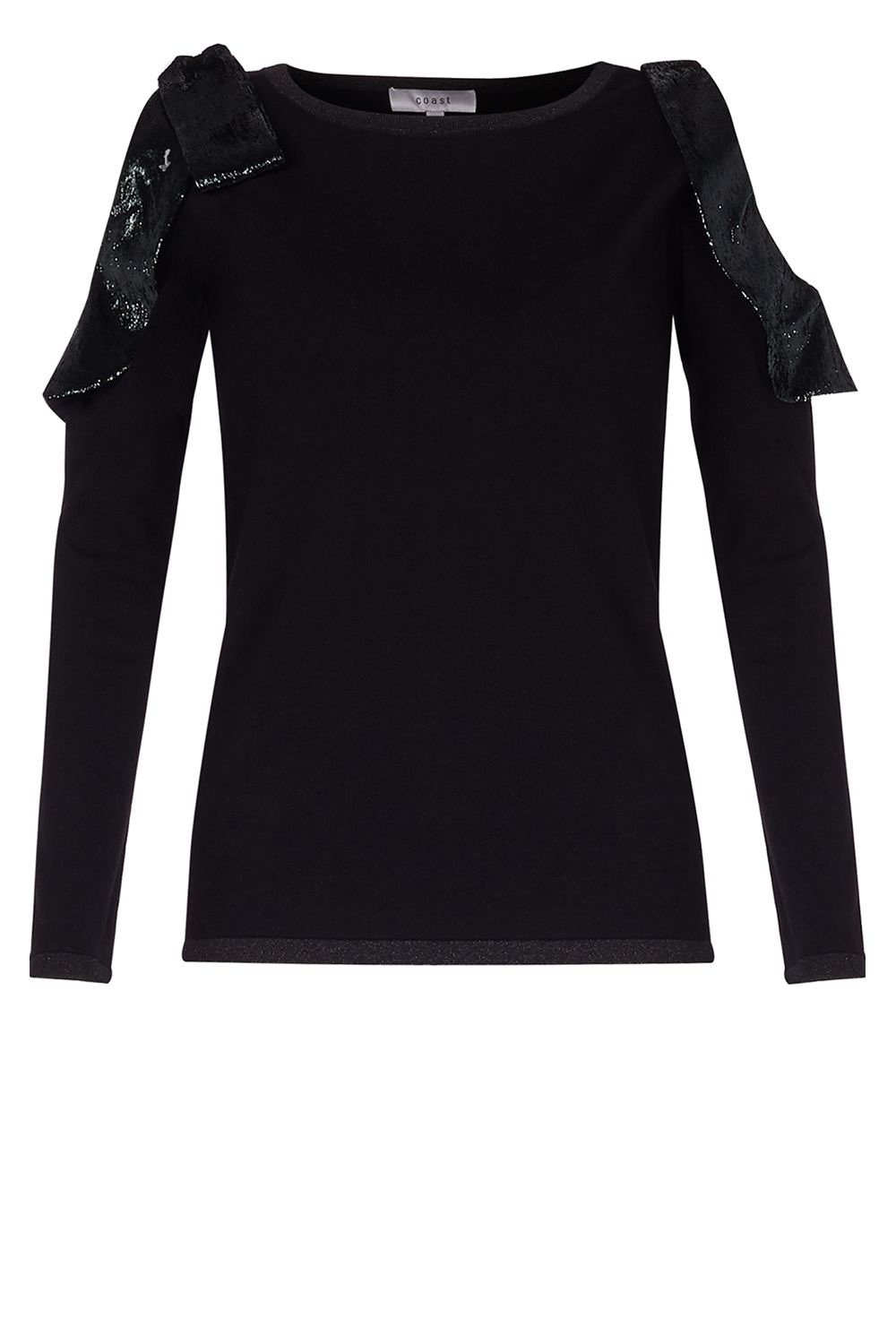 Coast Behati Velvet Bow Knit Top, Black
