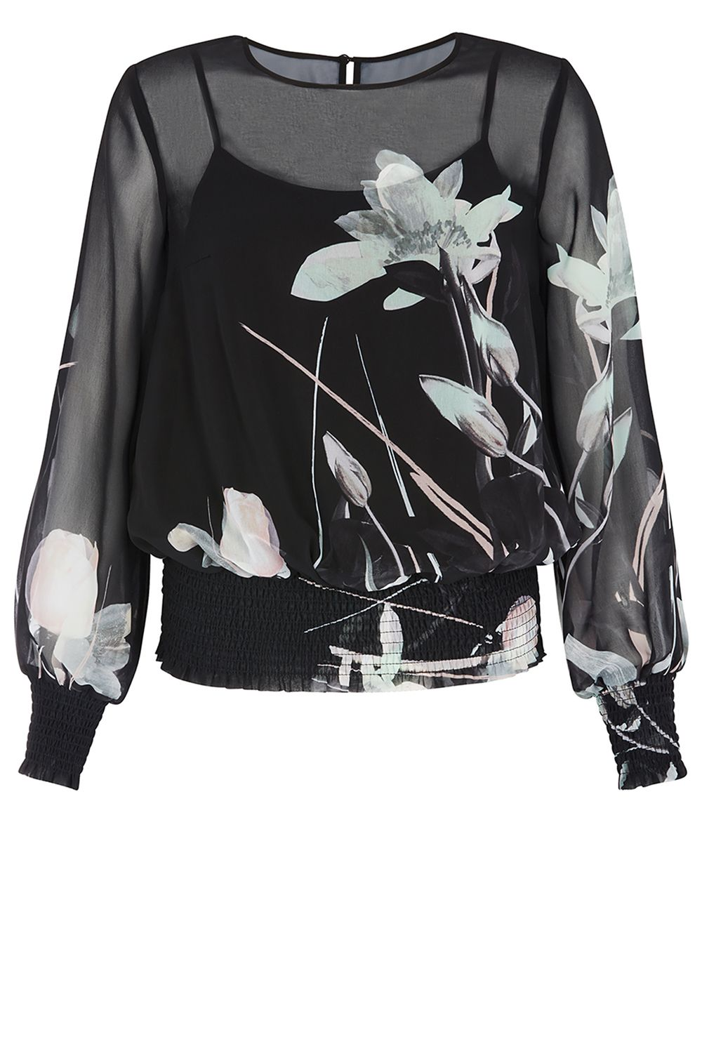 Coast Bianca Print Shirred Top, Black