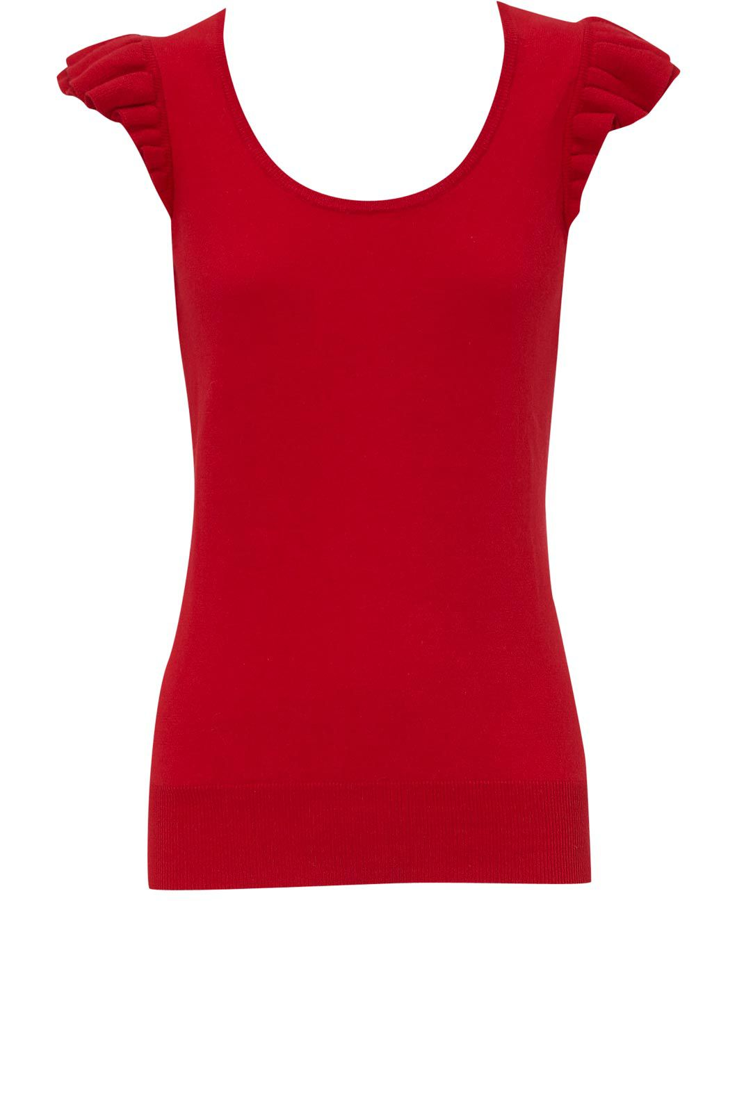 Oasis Ruffle shoulder short sleeve t Red product image