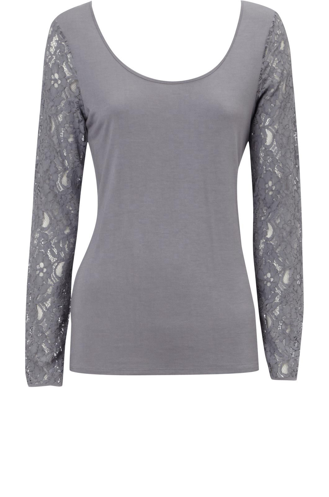Oasis Long sleeve lace tee Grey product image