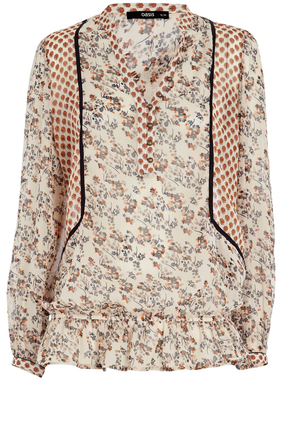 Oasis Patch print folk blouse - Multi-Coloured 10,10 product image