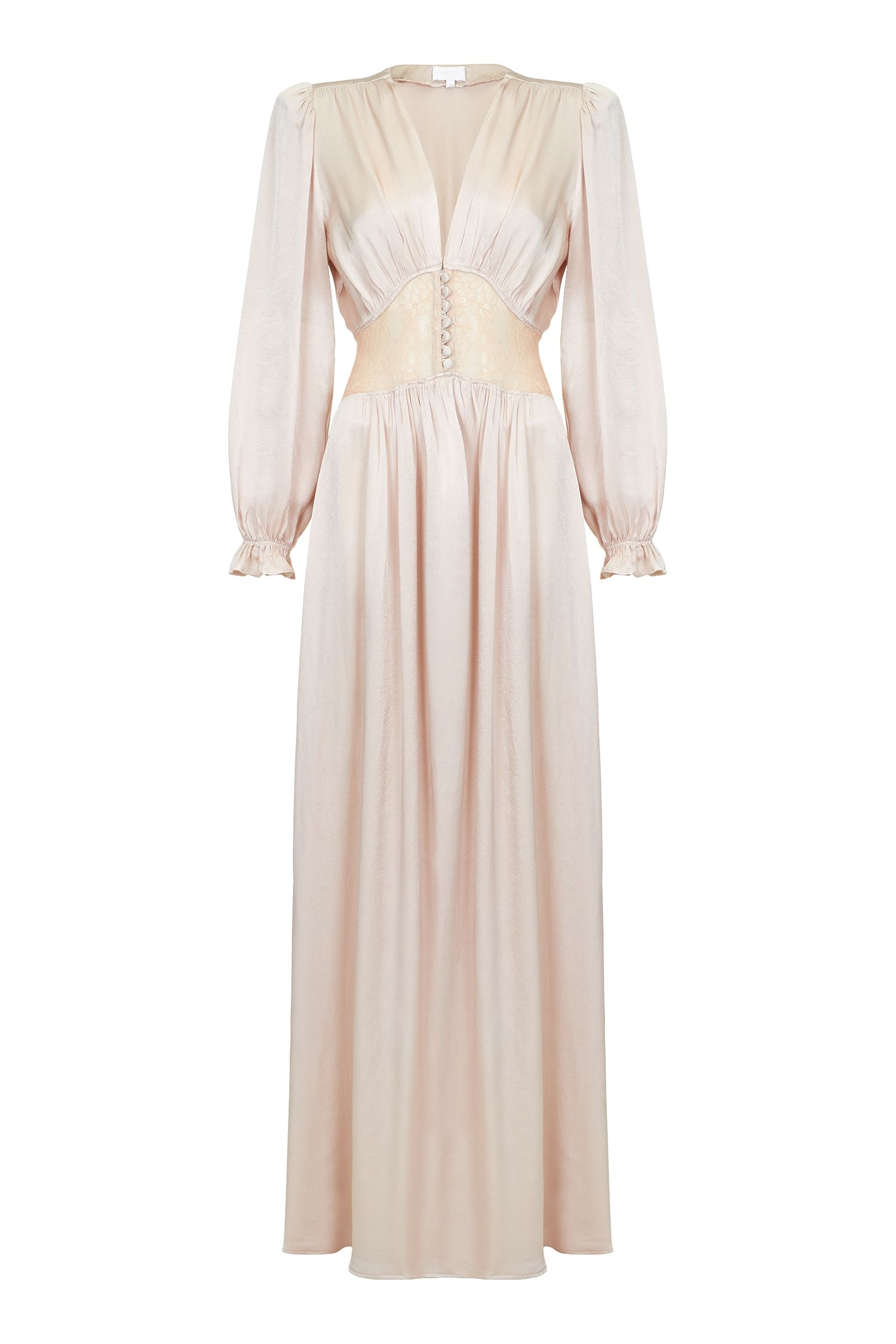 1940s Style Prom, Party, Cocktail Dresses Ghost Farah Dress Nude £345.00 AT vintagedancer.com