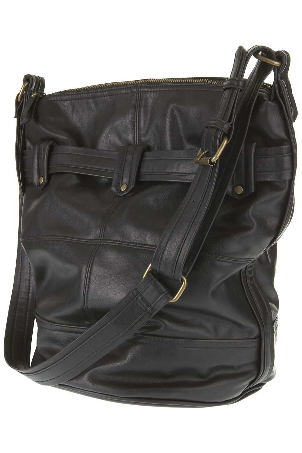 Warehouse Folded tabs bucket bag Black product image