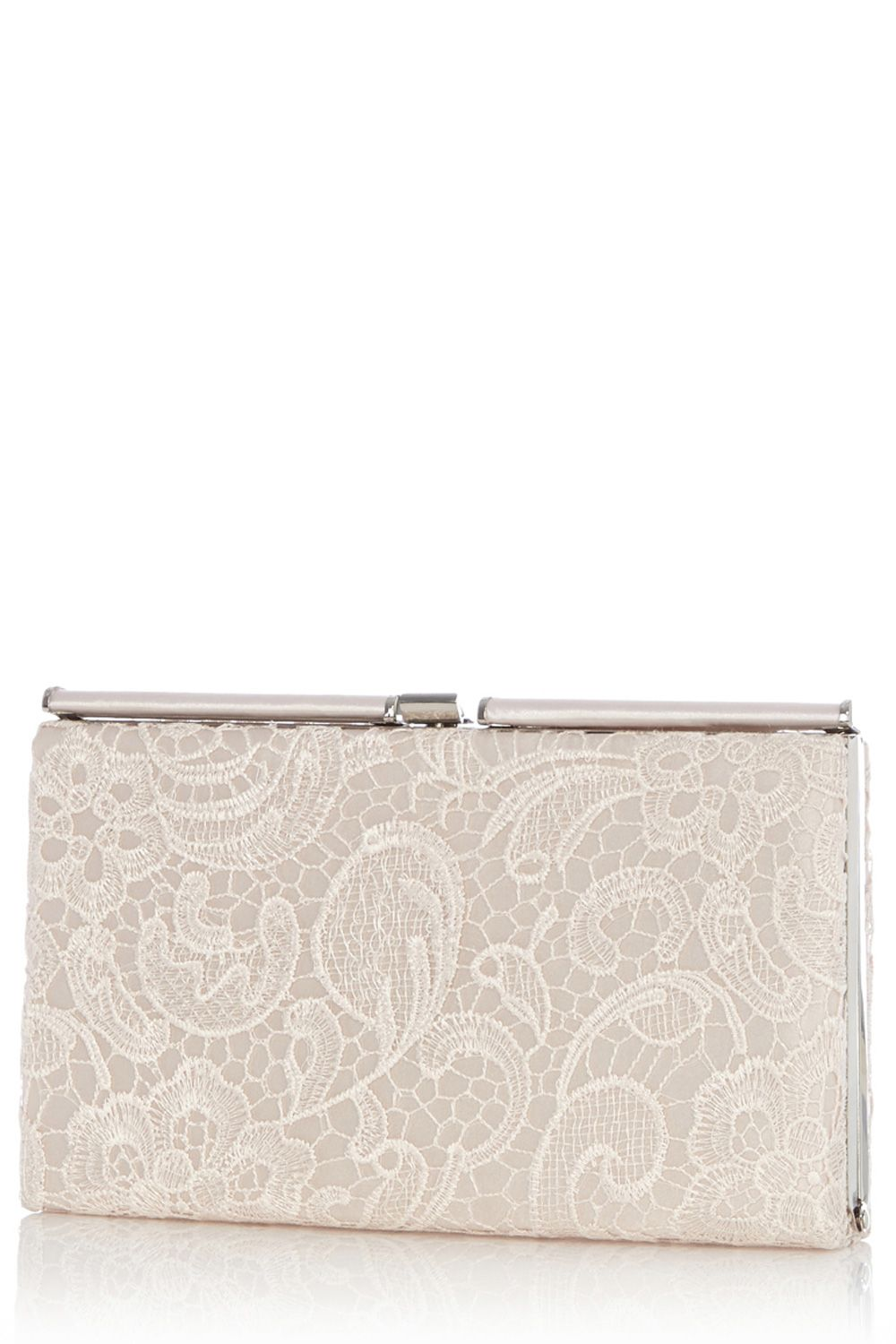 Lace roll top frame clutch