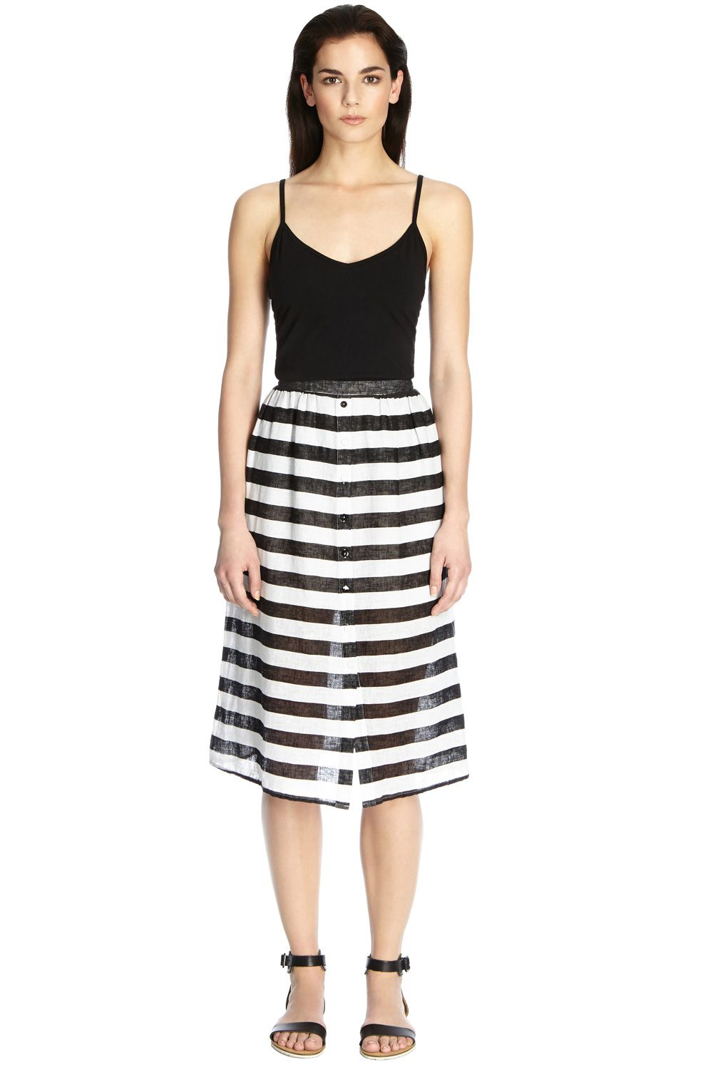 Stripe textured midi skirt