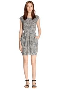 Paisley dipped hem dress
