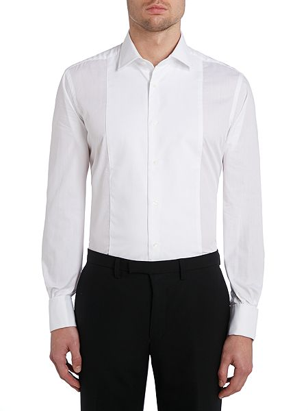 tm lewin marcella front plain slim fit dress shirt white