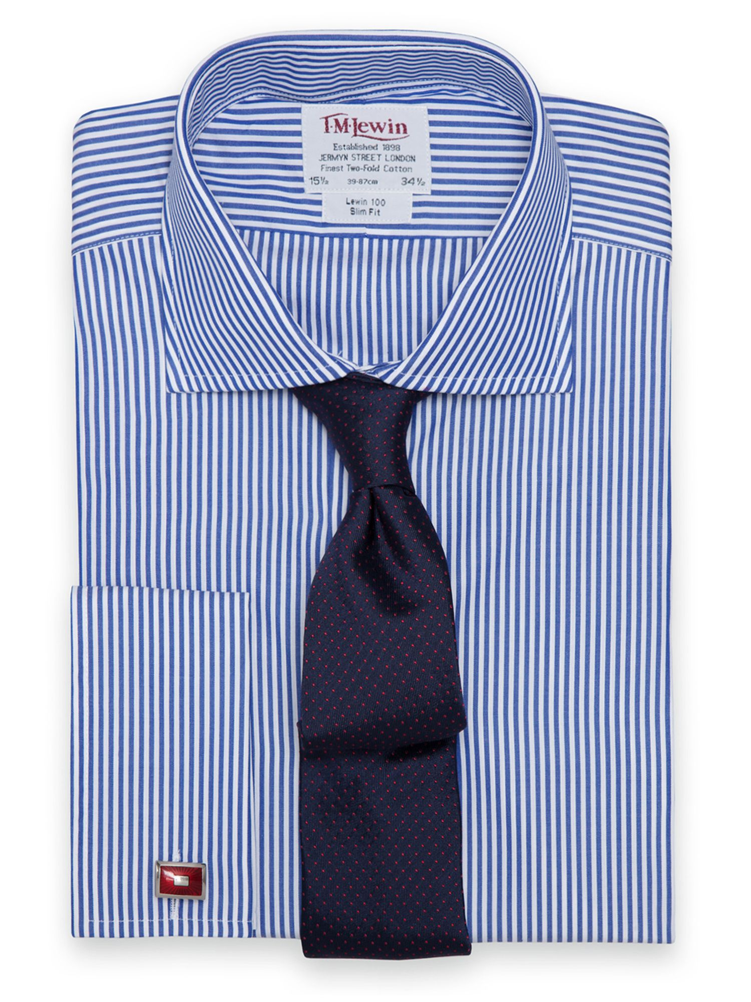 Slim Fit Navy Stripe Shirt