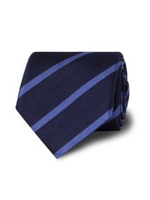 Navy blue stripe silk tie