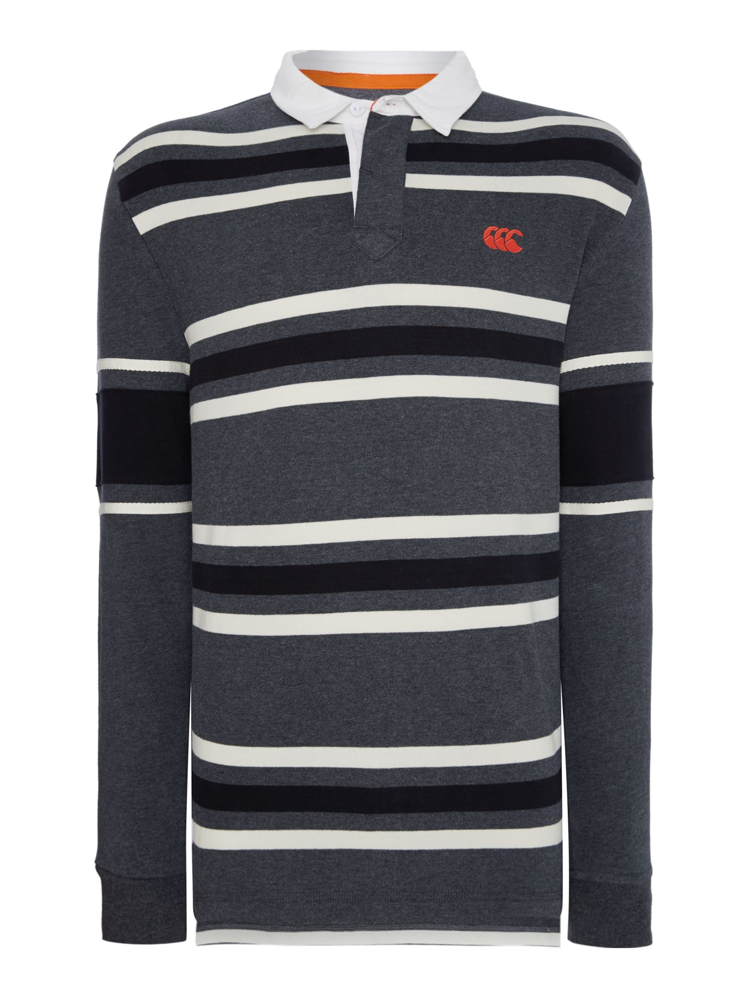 Men's Canterbury L/S Stripe Rugby, Grey