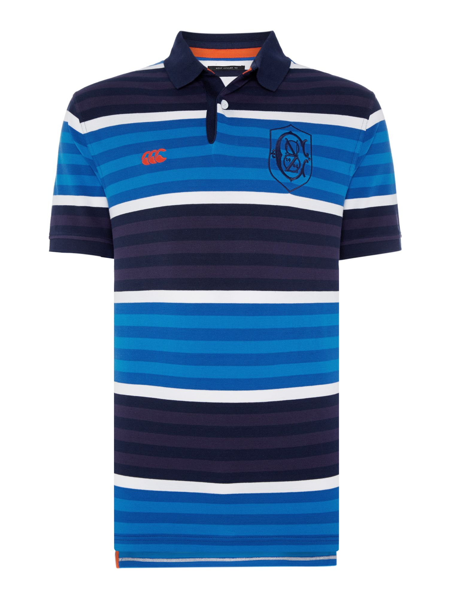 Men's Canterbury Yarn Dyed Stripe Pique Polo, Blue