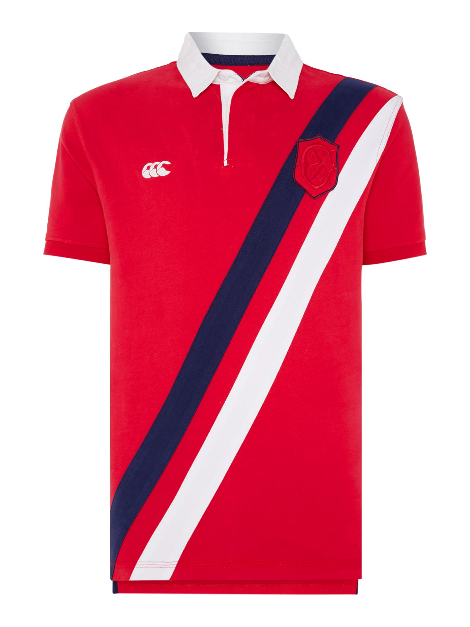 Men's Canterbury Sash Rugby Polo Top, Red